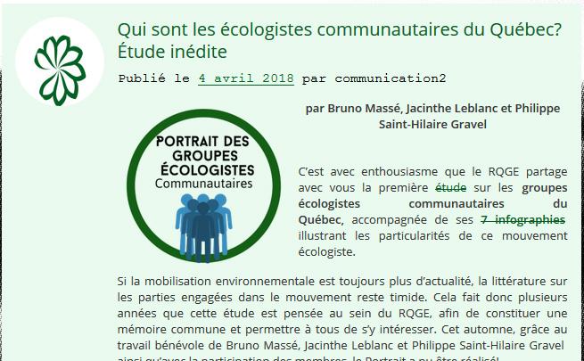 Portrait des groupes écologistes communautaires
